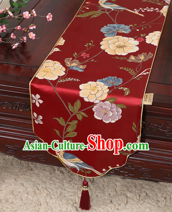 Chinese Classical Household Ornament Flowers and Bird Pattern Red Brocade Table Flag Traditional Handmade Table Cloth