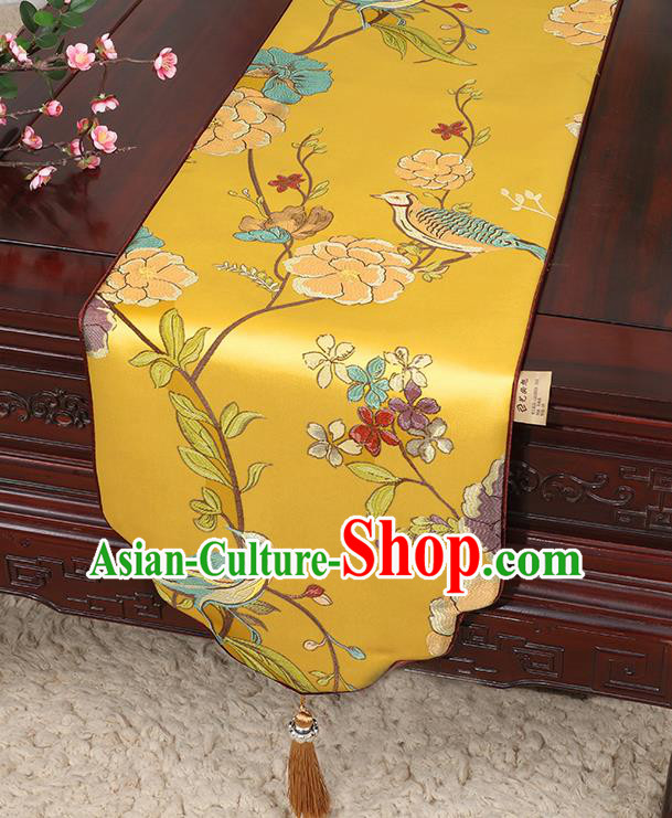Chinese Classical Household Ornament Flowers and Bird Pattern Golden Brocade Table Flag Traditional Handmade Table Cloth