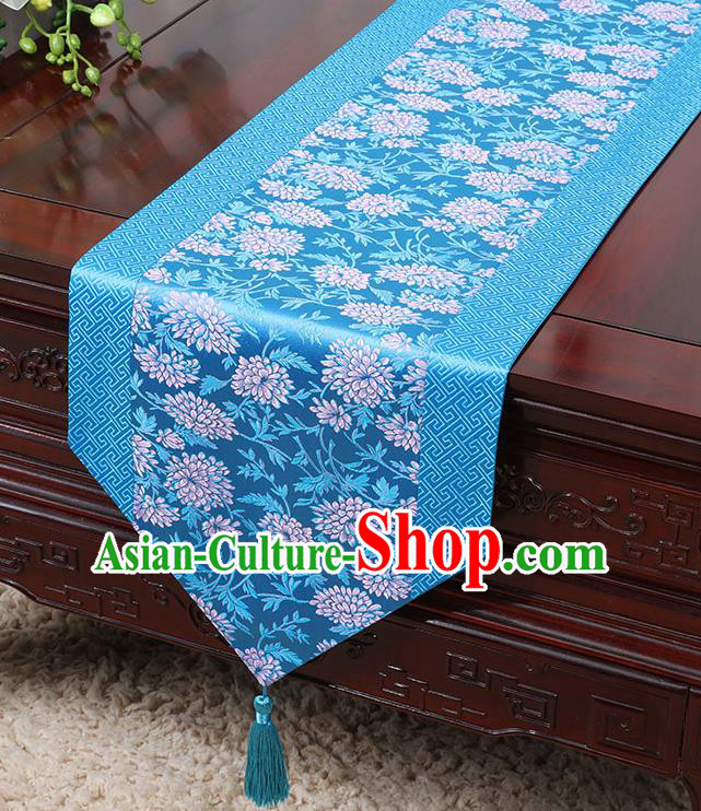 Chinese Traditional Table Cloth Classical Handmade Household Ornament Chrysanthemum Pattern Blue Brocade Table Flag