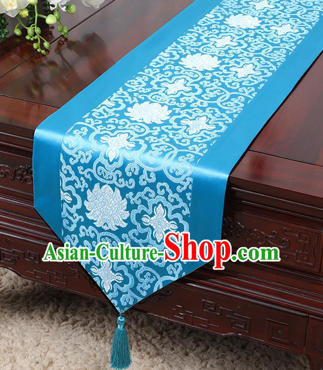 Chinese Traditional Table Cloth Classical Handmade Household Ornament Lotus Pattern Blue Brocade Table Flag