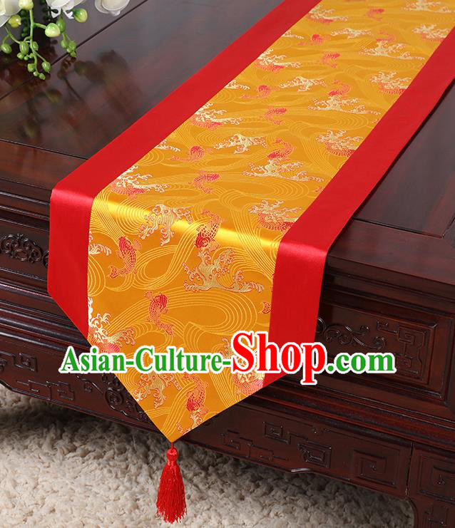 Chinese Traditional Table Cloth Classical Handmade Household Ornament Wave Pattern Red Brocade Table Flag