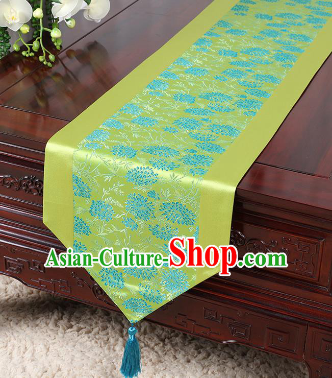 Chinese Traditional Table Cloth Classical Handmade Household Ornament Chrysanthemum Pattern Green Brocade Table Flag