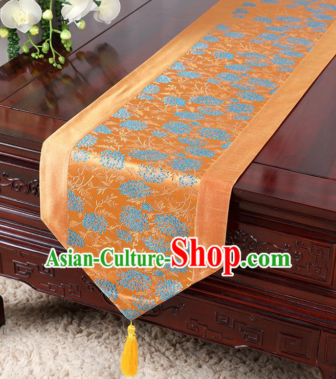 Chinese Traditional Table Cloth Classical Handmade Household Ornament Chrysanthemum Pattern Orange Brocade Table Flag