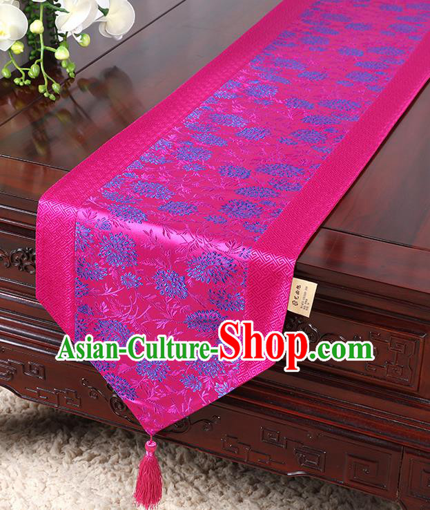 Chinese Traditional Table Cloth Classical Handmade Household Ornament Chrysanthemum Pattern Rosy Brocade Table Flag