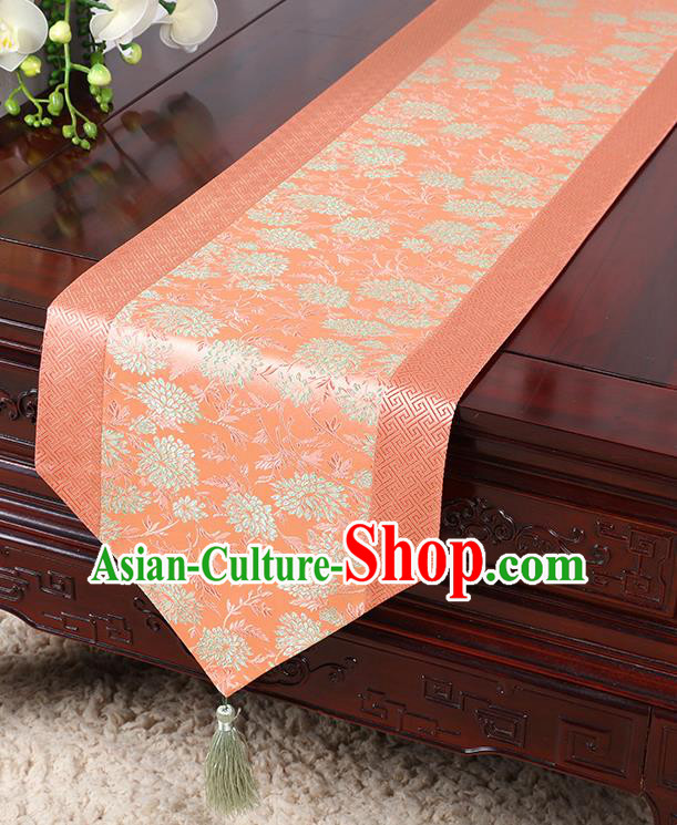 Chinese Traditional Table Cloth Classical Handmade Household Ornament Chrysanthemum Pattern Pink Brocade Table Flag
