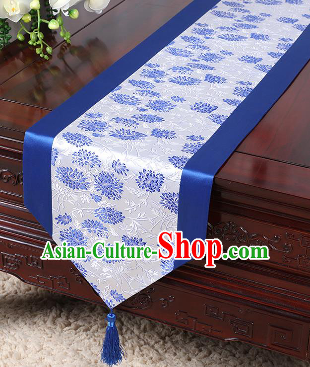 Chinese Traditional Table Cloth Classical Handmade Household Ornament Chrysanthemum Pattern Royalblue Brocade Table Flag