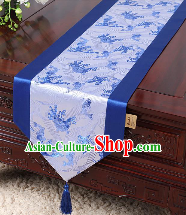 Chinese Traditional Table Cloth Classical Handmade Household Ornament Wave Pattern Royalblue Brocade Table Flag