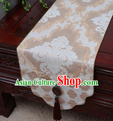 Chinese Traditional Pattern Beige Brocade Table Cloth Classical Household Ornament Table Flag