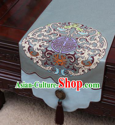 Chinese Traditional Pattern Blue Brocade Table Cloth Classical Household Ornament Table Flag