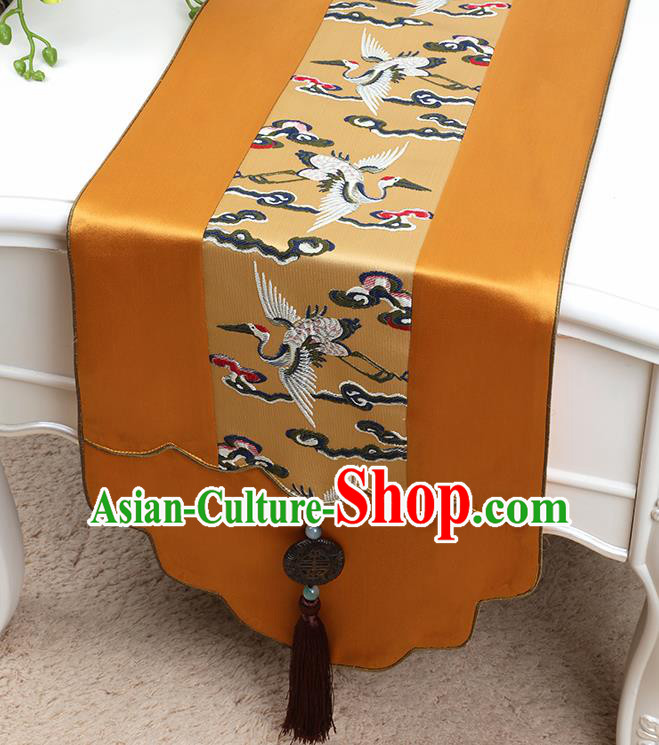 Chinese Traditional Golden Brocade Table Cloth Classical Embroidered Cranes Pattern Household Ornament Table Flag
