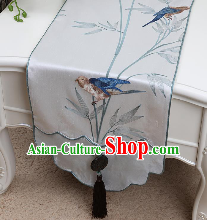 Chinese Traditional White Brocade Table Cloth Classical Embroidered Birds Pattern Household Ornament Table Flag