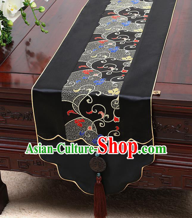 Chinese Traditional Black Brocade Table Cloth Classical Embroidered Pattern Household Ornament Table Flag