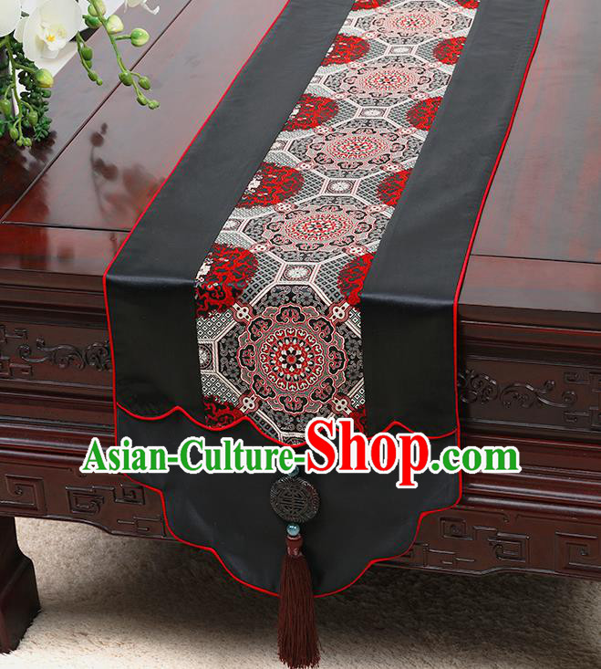 Chinese Traditional Black Brocade Table Cloth Classical Pattern Household Ornament Table Flag