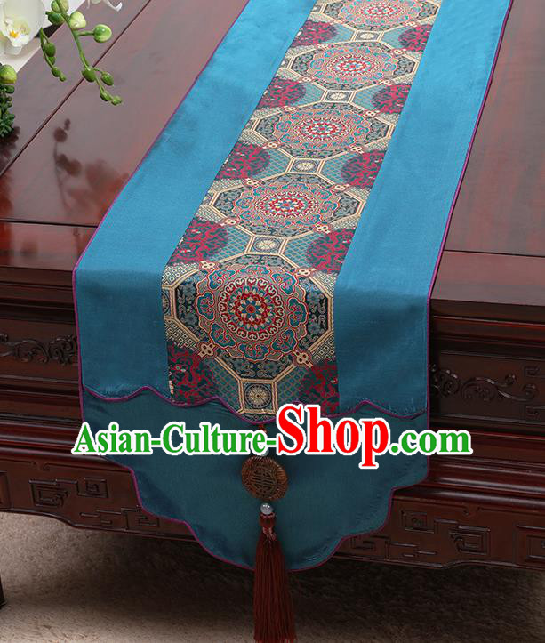 Chinese Traditional Blue Brocade Table Cloth Classical Pattern Household Ornament Table Flag