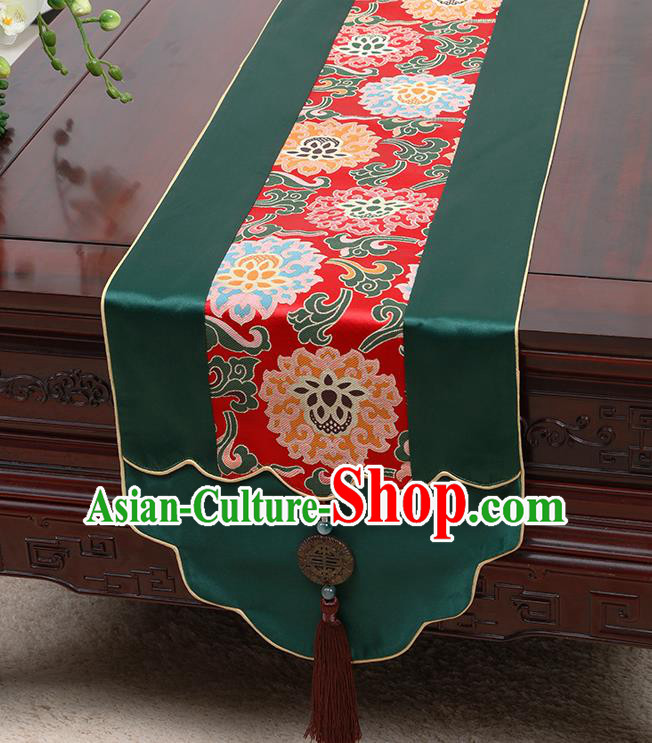 Chinese Traditional Green Brocade Table Cloth Classical Lotus Pattern Household Ornament Table Flag