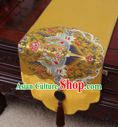 Chinese Traditional Cranes Pattern Golden Brocade Table Cloth Classical Household Ornament Table Flag