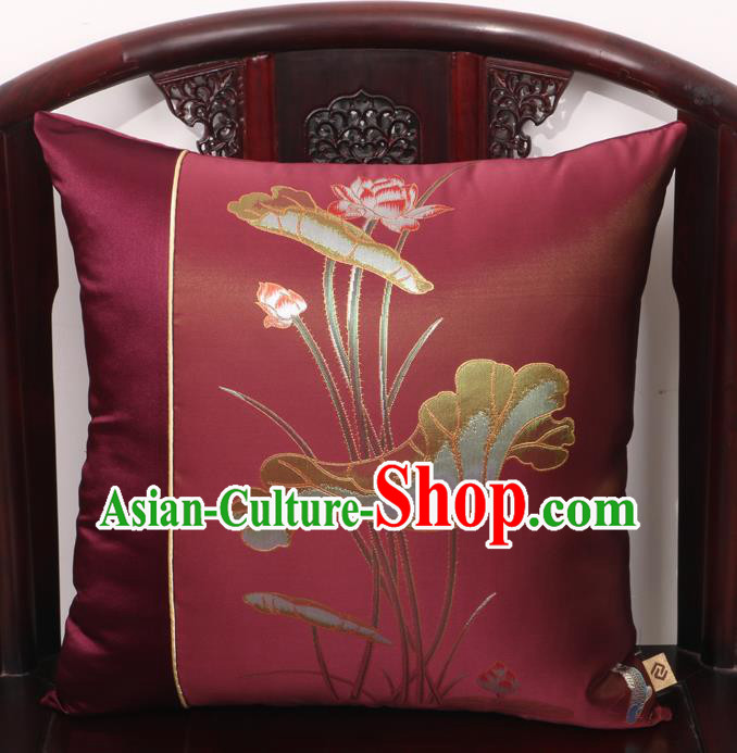 Chinese Traditional Lotus Pattern Wine Red Brocade Back Cushion Cover Classical Household Ornament