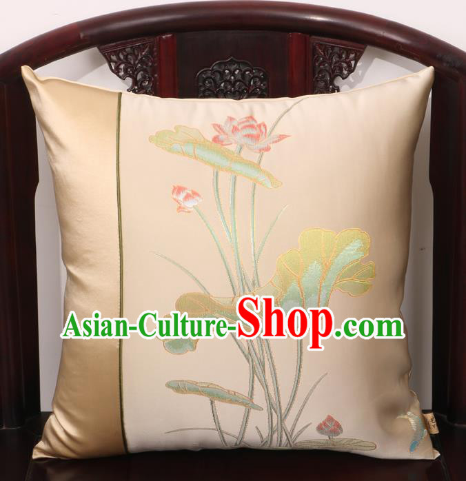 Chinese Traditional Lotus Pattern Beige Brocade Back Cushion Cover Classical Household Ornament