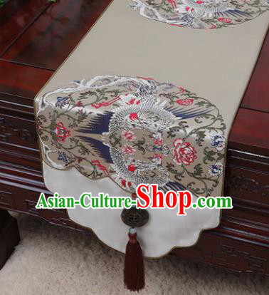 Chinese Traditional Pattern Khaki Brocade Table Cloth Classical Household Ornament Table Flag