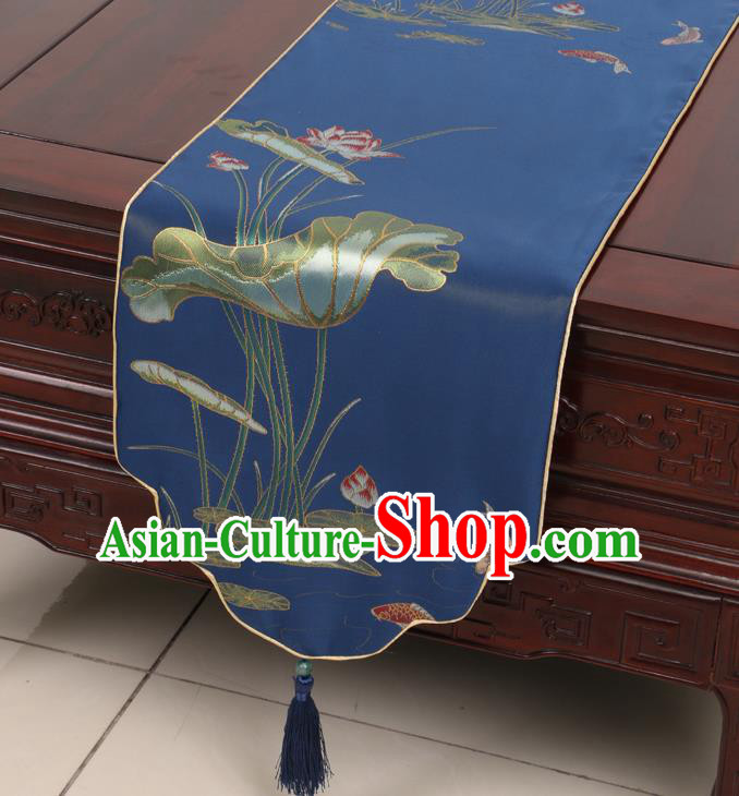 Chinese Traditional Lotus Pattern Blue Brocade Table Cloth Classical Satin Household Ornament Table Flag
