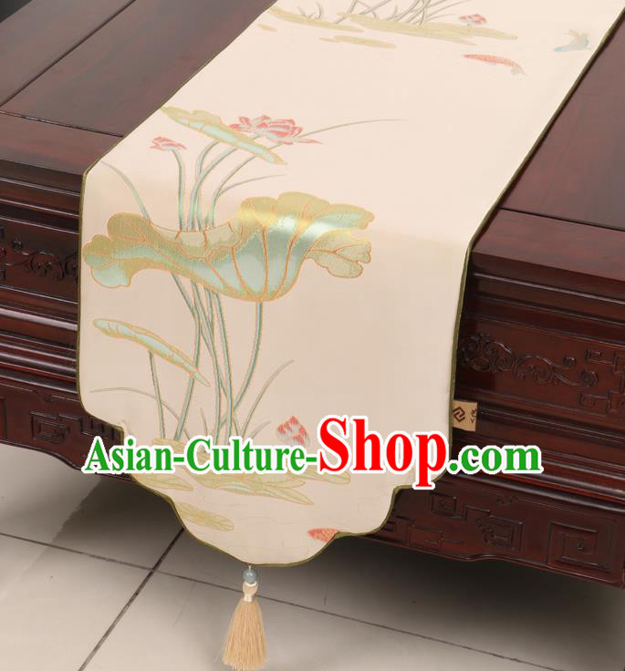 Chinese Traditional Lotus Pattern Beige Brocade Table Cloth Classical Satin Household Ornament Table Flag