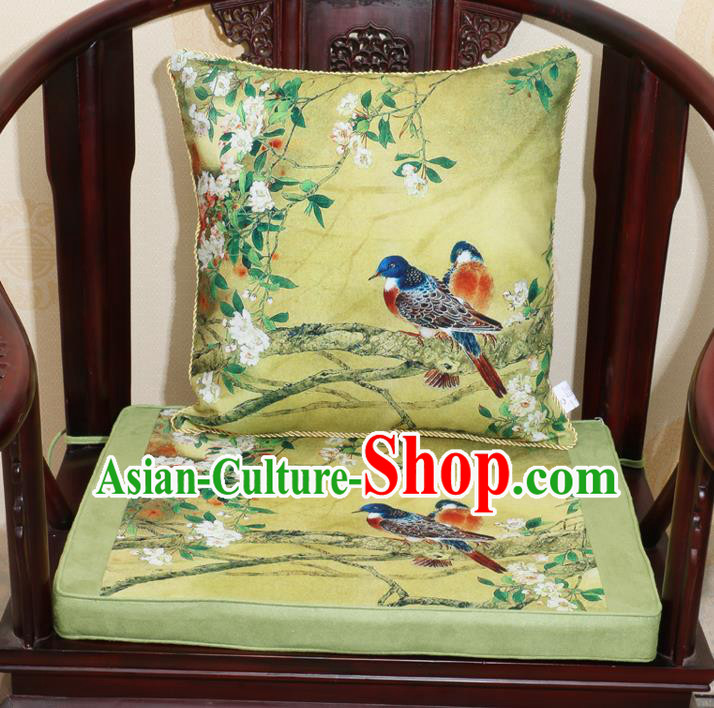 Chinese Classical Household Ornament Traditional Flowers Birds Pattern Green Brocade Cushion Cover and Armchair Mat Cover
