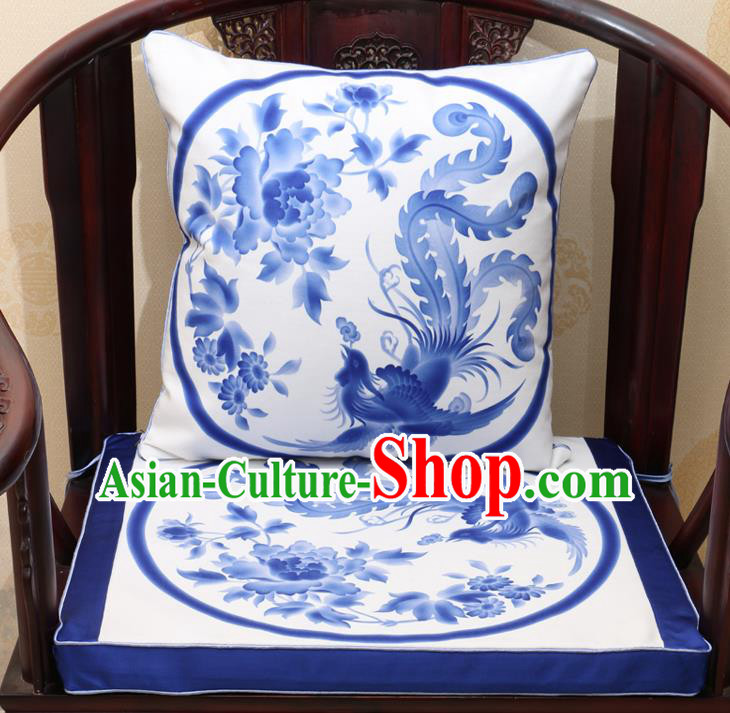Chinese Classical Household Ornament Traditional Phoenix Peony Pattern White Brocade Cushion Cover and Armchair Mat Cover