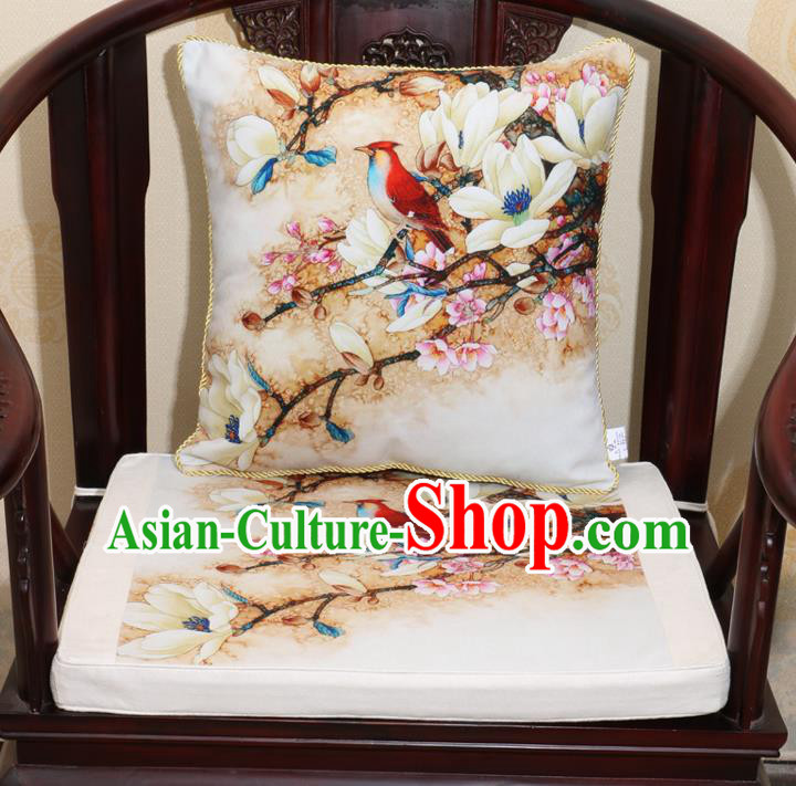 Chinese Classical Household Ornament Traditional Flowers Birds Pattern White Brocade Cushion Cover and Armchair Mat Cover