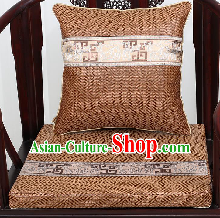 Chinese Classical Household Ornament Traditional Pattern Brown Brocade Cushion Cover and Armchair Mat Cover
