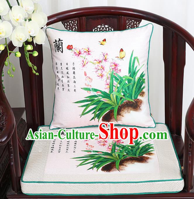Chinese Classical Household Ornament Traditional Orchid Pattern White Brocade Cushion Cover and Armchair Mat Cover