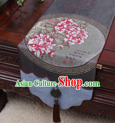 Chinese Traditional Peony Pattern Grey Brocade Table Cloth Classical Household Ornament Table Flag