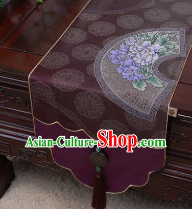 Chinese Traditional Peony Pattern Purple Brocade Table Cloth Classical Household Ornament Table Flag
