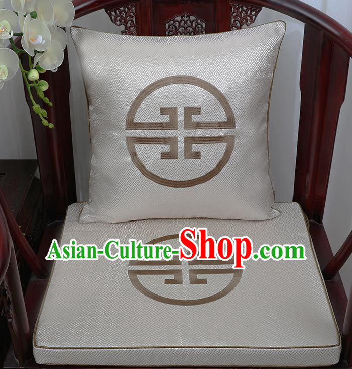 Chinese Classical Household Ornament Traditional Handmade Grey Brocade Cushion Cover and Armchair Mat
