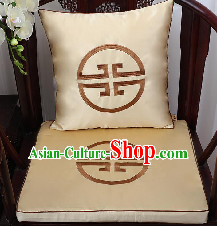 Chinese Classical Household Ornament Traditional Handmade Golden Brocade Cushion Cover and Armchair Mat