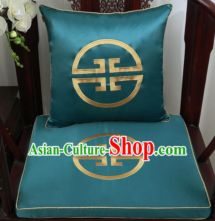Chinese Classical Household Ornament Traditional Handmade Green Brocade Cushion Cover and Armchair Mat