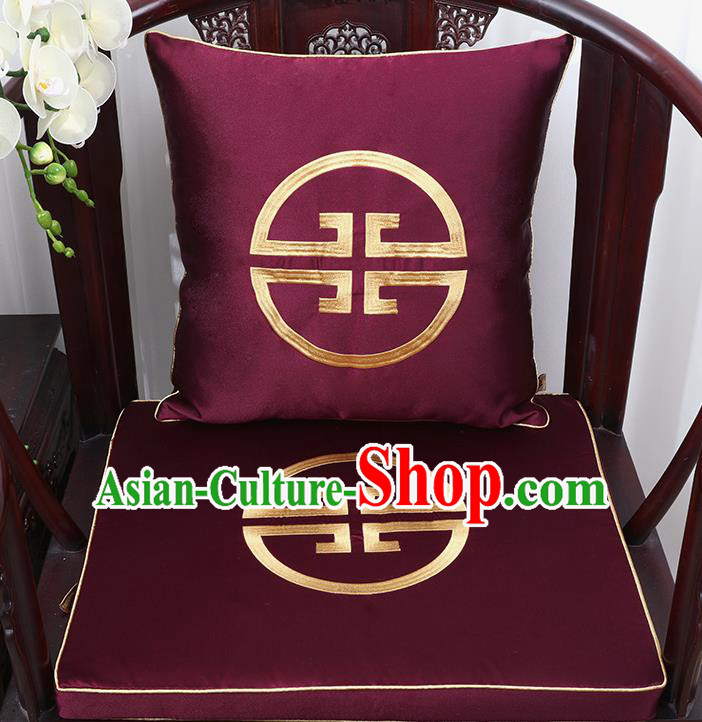 Chinese Classical Household Ornament Traditional Handmade Purple Brocade Cushion Cover and Armchair Mat