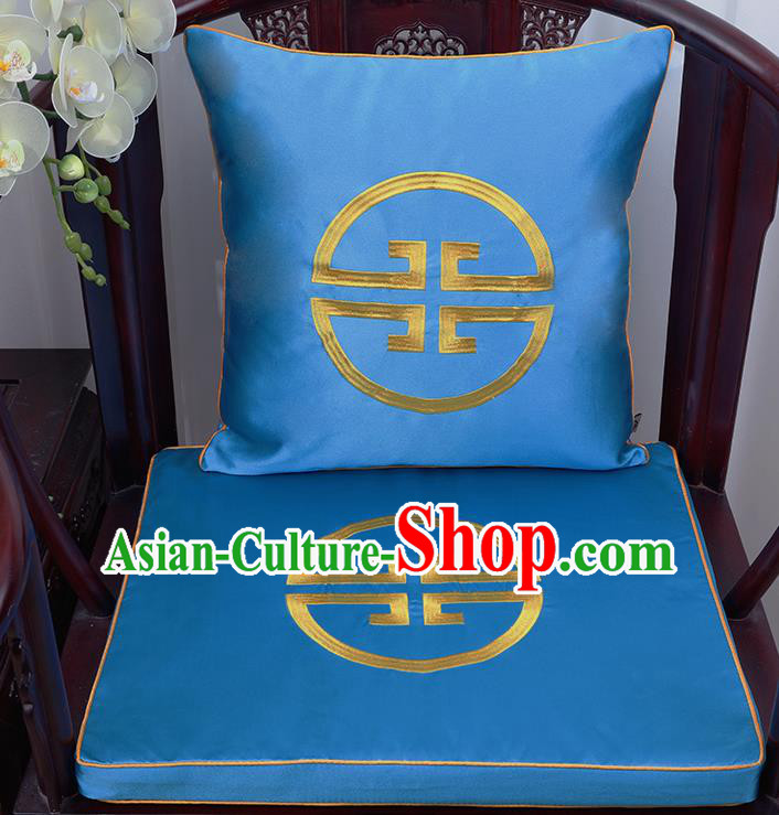 Chinese Classical Household Ornament Traditional Handmade Blue Brocade Cushion Cover and Armchair Mat