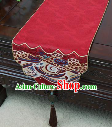 Chinese Traditional Wave Pattern Red Brocade Table Cloth Classical Household Ornament Table Flag