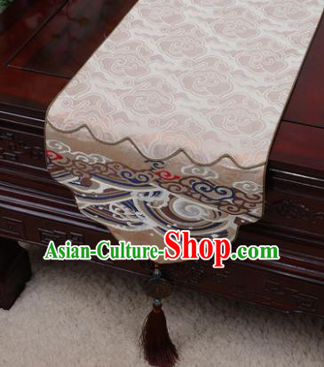 Chinese Traditional Wave Pattern Khaki Brocade Table Cloth Classical Household Ornament Table Flag