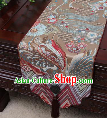 Chinese Traditional Pattern Bronze Brocade Table Cloth Classical Household Ornament Table Flag