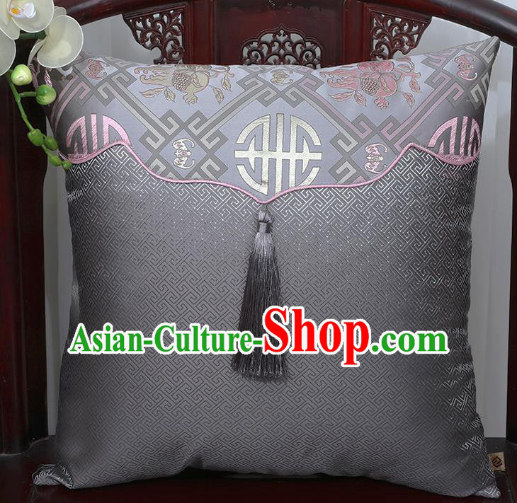 Chinese Traditional Pattern Grey Brocade Tassel Back Cushion Cover Classical Household Ornament