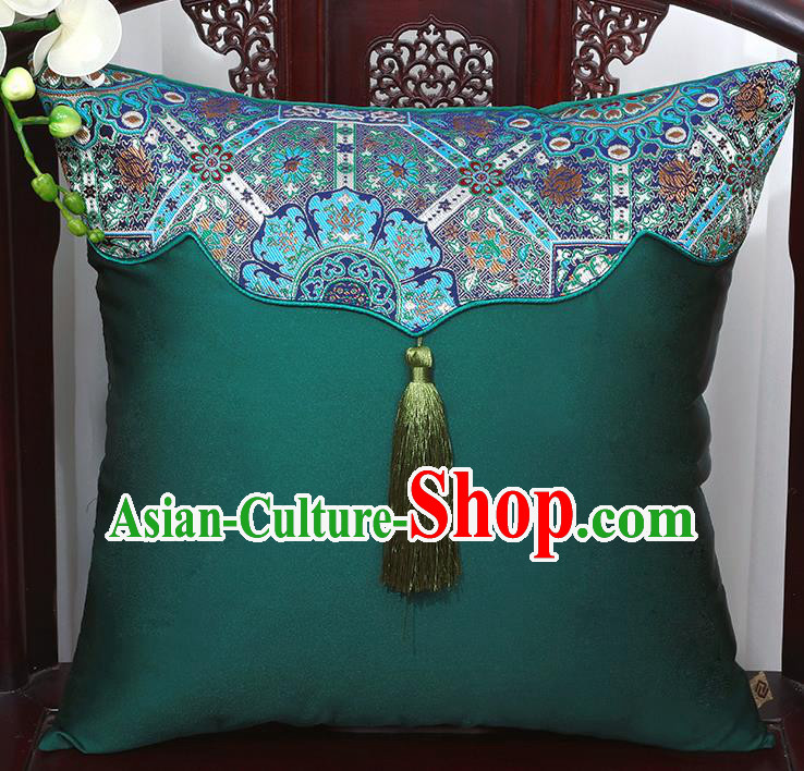 Chinese Traditional Pattern Atrovirens Brocade Tassel Back Cushion Cover Classical Household Ornament