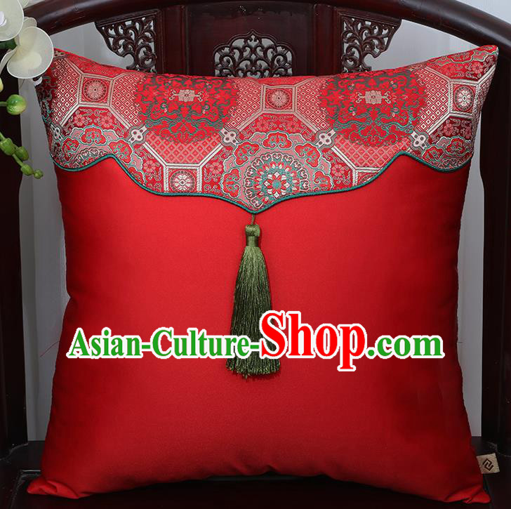 Chinese Traditional Pattern Red Brocade Back Cushion Cover Classical Household Ornament