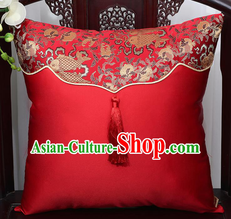 Chinese Traditional Fishes Pattern Red Brocade Back Cushion Cover Classical Household Ornament