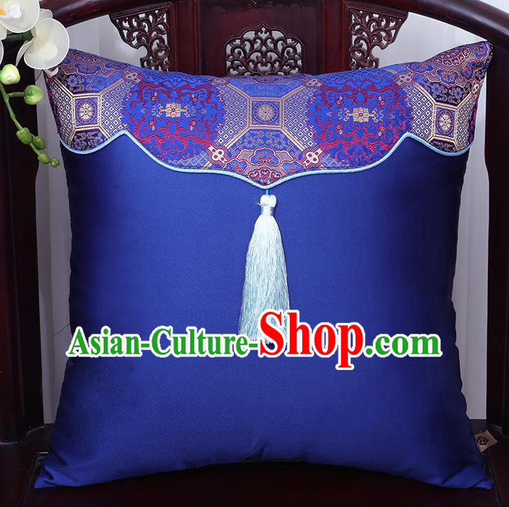 Chinese Traditional Pattern Royalblue Brocade Back Cushion Cover Classical Household Ornament