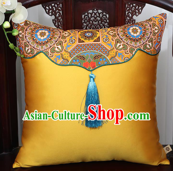 Chinese Traditional Pattern Golden Brocade Tassel Back Cushion Cover Classical Household Ornament