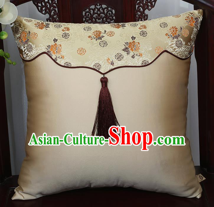 Chinese Traditional Chrysanthemum Pattern Brocade Tassel Back Cushion Cover Classical Household Ornament