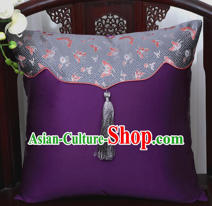 Chinese Traditional Butterfly Pattern Purple Brocade Back Cushion Cover Classical Household Ornament