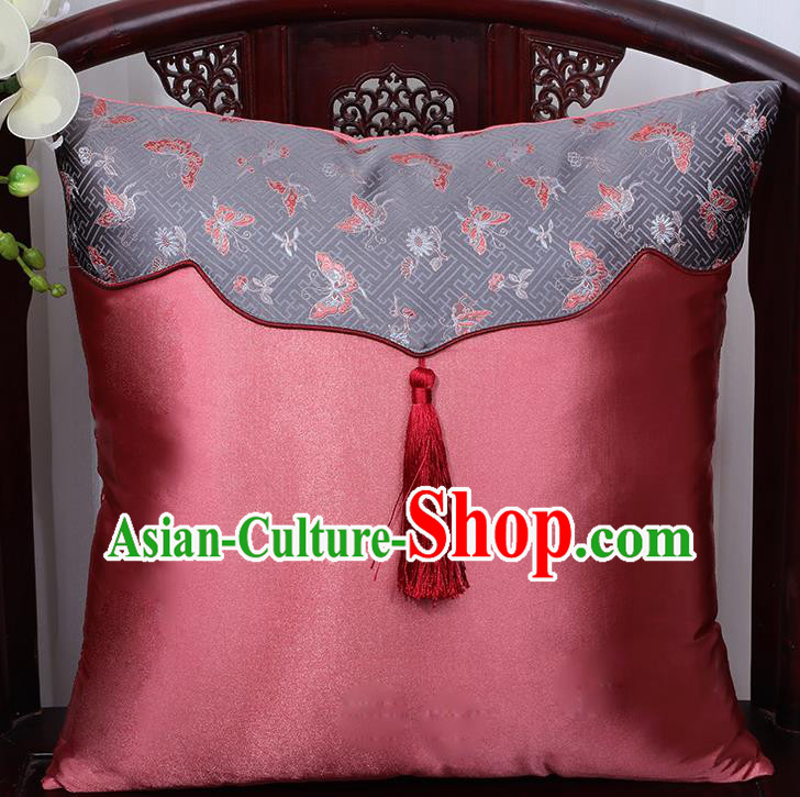 Chinese Traditional Butterfly Pattern Pink Brocade Back Cushion Cover Classical Household Ornament