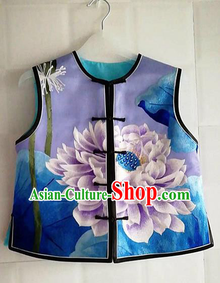 Chinese Traditional Costume Tang Suit Embroidered Vest National Silk Waistcoat for Women